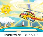 Happy heli flying and landing in the sunny day - stock photo