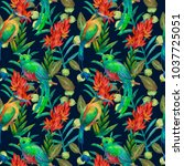 colorful exotic botanical...   Shutterstock . vector #1037725051
