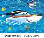 Cartoon happy yacht - stock photo
