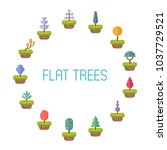 flat vector trees for game and... | Shutterstock .eps vector #1037729521