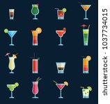 alcoholic cocktails drinks... | Shutterstock .eps vector #1037734015