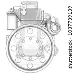 a big diesel engine with the...   Shutterstock . vector #1037739139