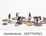 gears and people working | Shutterstock . vector #1037743921