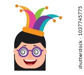 laughing face woman with crazy... | Shutterstock .eps vector #1037745775