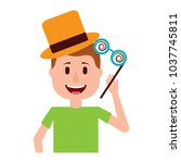 happy man hat and crazy glasses ... | Shutterstock .eps vector #1037745811