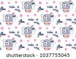 seamless pattern  happy cute... | Shutterstock .eps vector #1037755045