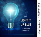 autism awareness day. light it... | Shutterstock .eps vector #1037771359