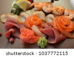 mixed seafood salad in dish the ... | Shutterstock . vector #1037772115