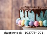 blue frosted cake with... | Shutterstock . vector #1037794201