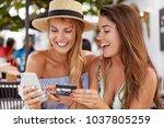 cheerful best friends women...   Shutterstock . vector #1037805259