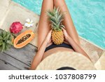 top view of slim woman with... | Shutterstock . vector #1037808799