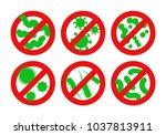 antibacterial sign. stop... | Shutterstock .eps vector #1037813911