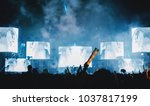 silhouette crowd of concert... | Shutterstock . vector #1037817199