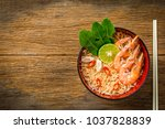 thai style noodle in bowl with... | Shutterstock . vector #1037828839