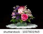 pink white roses in vase on... | Shutterstock . vector #1037831965