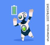 robot with full battery active... | Shutterstock .eps vector #1037845345