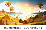 sunset on tropical beach... | Shutterstock .eps vector #1037845741