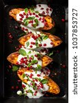 baked sweet potatoes with... | Shutterstock . vector #1037853727