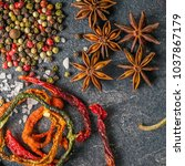 spices on the stone black...   Shutterstock . vector #1037867179