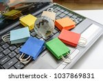 online shopping   ecommerce and ... | Shutterstock . vector #1037869831