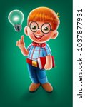 little student with idea | Shutterstock .eps vector #1037877931