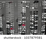 cars in a parking lot in... | Shutterstock . vector #1037879581
