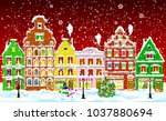city street in the winter night.... | Shutterstock . vector #1037880694
