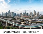 modern city with highway... | Shutterstock . vector #1037891374