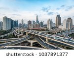 modern city with highway... | Shutterstock . vector #1037891377