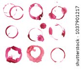 set of red wine stains isolated ... | Shutterstock . vector #1037901217