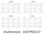calendar for 2019 2022 years on ...   Shutterstock .eps vector #1037902117