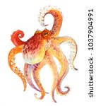 watercolor red octopus | Shutterstock . vector #1037904991