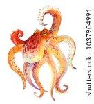 watercolor red octopus | Shutterstock . vector #1037904991