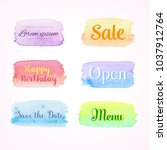 colorful watercolor banners | Shutterstock .eps vector #1037912764