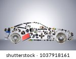 passenger car assembled from... | Shutterstock . vector #1037918161