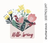 spring illustration with... | Shutterstock .eps vector #1037921197