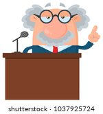professor or scientist cartoon... | Shutterstock .eps vector #1037925724