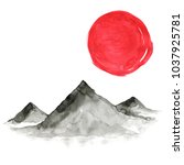 mountains in japanese painting... | Shutterstock . vector #1037925781