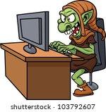 internet troll using a computer.... | Shutterstock .eps vector #103792607