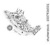 map of mexico in cartoon style... | Shutterstock .eps vector #1037926531