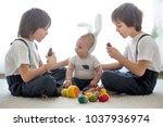 three cute boys  siblings ... | Shutterstock . vector #1037936974