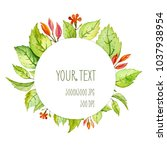 watercolor frame with green... | Shutterstock . vector #1037938954