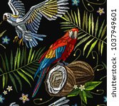 fashionable embroidery tropical ... | Shutterstock .eps vector #1037949601