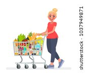woman is carrying a grocery... | Shutterstock .eps vector #1037949871