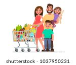 happy family with a grocery... | Shutterstock .eps vector #1037950231