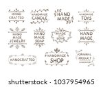 hand made different labels set  ... | Shutterstock .eps vector #1037954965