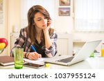 teenage student with laptop and ... | Shutterstock . vector #1037955124