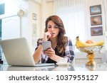 young nervous woman looking at...   Shutterstock . vector #1037955127