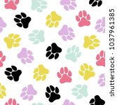 seamless pattern with cute dog...   Shutterstock . vector #1037961385