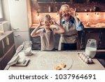 grandmother and granddaughter... | Shutterstock . vector #1037964691
